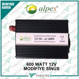 600 Watt 12V Modifiye Sinüs İnverter Alpex
